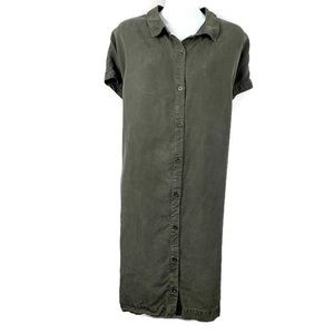Eileen Fisher Button Front Dress Large Green